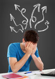 Confused young man covering his head royalty free stock image