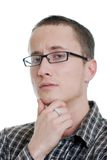 Confused young man isolated Stock Photo