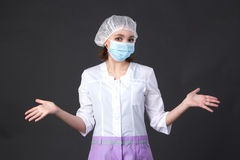 Confused young nurse Stock Photo