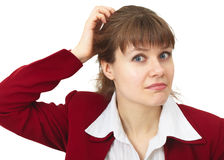 Confused young woman Stock Image