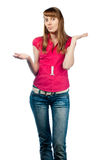 Confused young woman Royalty Free Stock Photo