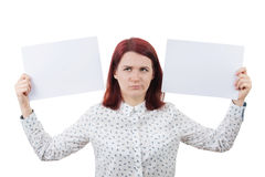 Confused young woman Stock Photo