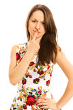 Confused young woman. Isolated white background Stock Photography