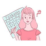 Confused young woman thinking of her irregular periods. Illustration of confused young woman holding pencil and thinking of her irregular periods royalty free illustration
