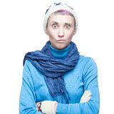 Confused young woman on white background Royalty Free Stock Photography