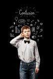 Confusión pelirroja del muchacho Imágenes de archivo libres de regalías