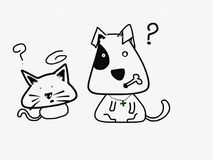 Confusing cat and dog. Sketching cat and dog Royalty Free Stock Images