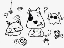 Confusing cat and dog. Sketching cat and dog in Halloween costume Royalty Free Stock Image