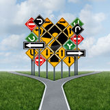 Confusing Direction Decision Stock Photo