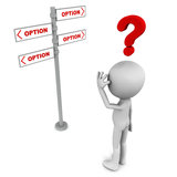 Confusing options. Confused 3d man with question mark on which option to choose, concept of choice and hard decisions Stock Photography