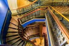 Confusing perspective of beautiful stairway. In Queen Victoria building, Sydney, Australia stock images