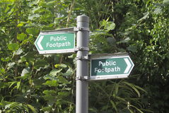 Confusing public footpath sign Royalty Free Stock Photography