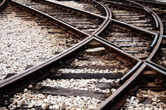 Confusing railway tracks. At day stock photography