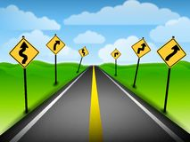 Confusing Road Directions. An illustration featuring a long road with a number of roadsigns creating a confusing sense of direction Royalty Free Stock Image