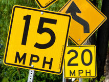 Confusing speed limit signs Royalty Free Stock Photography