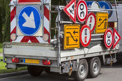 Confusing traffic signs on a trailer Stock Photography