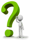 Confusion. Concept, question mark with figure standing by and wondering for the answer Royalty Free Stock Images