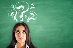 Confusion and ask concept. Portrait of attractive young european businesswoman with question mark drawings on green background. Confusion and ask concept royalty free stock photography