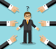 Confusion and Business. All the finger at an employee. Businessman confused and question mark over his head Royalty Free Stock Images