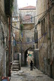 Confusion of cables in historic Jerusalem Stock Photos