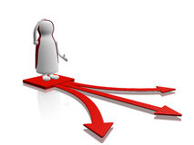 Confusion Character Decision Choice Arrows. A 3D illustration of showing a character standing in confusion over three red arrows pointing in different directions Stock Image