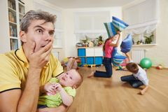 Confusion in children breeding. Parent in confusion state or stress from children bad manners behaviour Stock Images