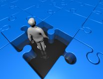 Confusion concept with 3d man inside jigsaw puzzles game Royalty Free Stock Image