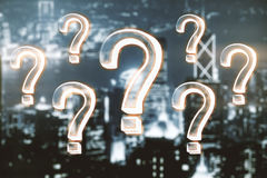 Confusion concept. Glowing question marks on night city background. Confusion concept. 3D Rendering Stock Photo