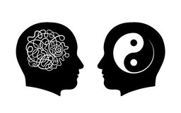 Confusion vs. calmness yin yang concept Stock Images