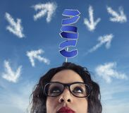 Confusion of way for a businesswoman. Concept of difficult career. And future stock images