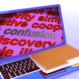 Confusion Word Cloud Laptop Means Confusing Confused Dilemma. Confusion Word Cloud Laptop Meaning Confusing Confused Dilemma Royalty Free Stock Photos