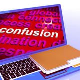 Confusion Word Cloud Laptop Means Confusing Confused Dilemma Royalty Free Stock Image