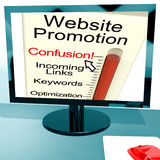 A confusão da promoção do Web site mostra SEO Strategy em linha Fotografia de Stock