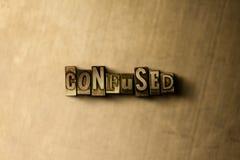 CONFUSO - il primo piano dell'annata grungy ha composto la parola sul contesto del metallo Fotografie Stock