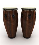 Conga drums. 3d rendering illustration of two conga drums. A clipping path is included for easy editing Royalty Free Stock Image