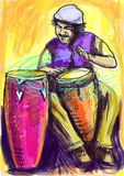 Conga player. Afro-Caribbean rhythms from passionate drummer. A hand drawn illustration of an excellent drummer Royalty Free Stock Images