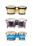 Congas set. Beautiful collection of three congas sets isolated over white background Stock Images