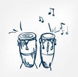 Congas skissar linjen designmusikinstrument stock illustrationer