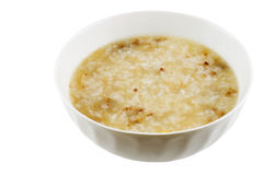 Congee. Beef congee in a bowl isolated on white with clipping path Stock Image