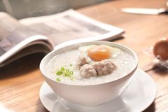 Congee in a breakfast royalty free stock photo