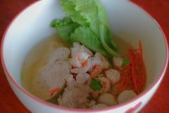 Congee del riso misto con carne fotografia stock