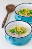 Congee del riso misto con carne fotografie stock libere da diritti