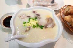 Congee met Fijngehakt Varkensvlees Hong Kong royalty-vrije stock foto