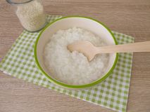 Congee with rice. In bowl Stock Image
