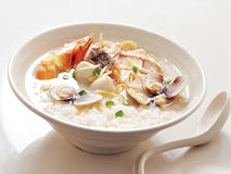 Congee. Tasty Asian style seafood congee Stock Photos
