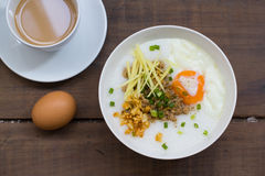 Congee of traditional food Chinese style. With soft-boiled egg Royalty Free Stock Photography