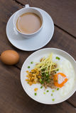 Congee of traditional food Chinese style. With soft-boiled egg Stock Image