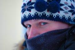 Congelação da pessoa masculina Fotos de Stock