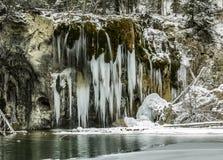 Congelado, lago, inverno, neve, pontos, Colorado, co, EUA, curso, turismo imagens de stock