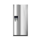 Congelador de refrigerador americano del estilo aislado en blanco La pantalla LED externa, con resplandor azul Refrigerador moder Imagen de archivo libre de regalías